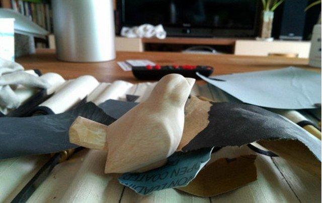 【木雕过程】新作,刻了一只小鸟