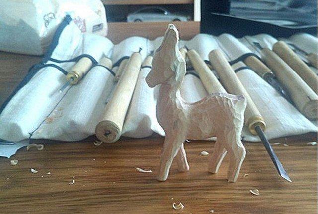 木雕过程-小鹿