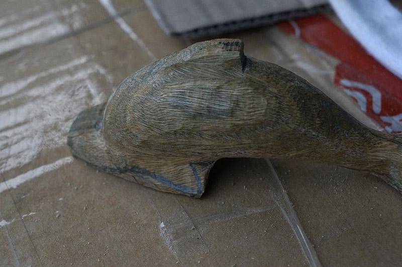 【木雕过程】小海豚-手工记木